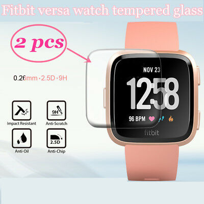 2 pcs 9H Anti-Bubble Tempered Glass Film for Fitbit Versa Watch Smartwatch