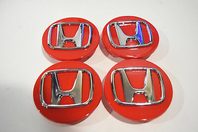 """Replacement Red Honda 69mm (2 3/4 """") Set of 4 Wheel Center Caps"""