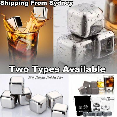 8/9x Whiskey Stone Ice Cubes Square Glacier Chiller Drink Reuseble Scotch Party