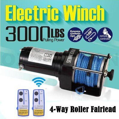 12V 3000LBS/1325KGS Wireless Electric Winch Synthetic Rope ATV 4WD Boat AU HQ F4