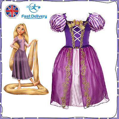 Girls Rapunzel Fancy Dress Costume Kids Princess Cosplay Prom Party Outfits Gift