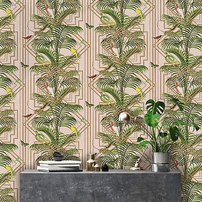 Congo Wallpaper Bird Snakes Butterflies Palm Trees Pink Metallic Gold Green