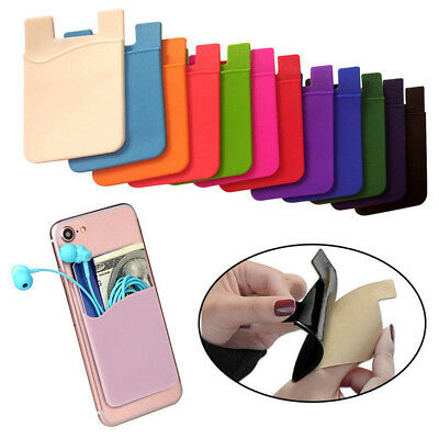 Pouch Silicone for Phone Credit Card Wallet Holder Pocket Stick On Adhesive CAR