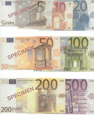 EUROPE - Full Set of Specimen 'EURO' Bank Notes