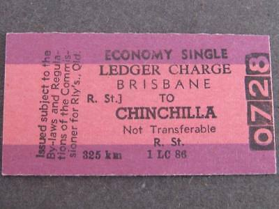 BRISBANE to CHINCHILLA ECONOMY SINGLE LEDGER CHARGE TICKET  QUEENSLAND RAILWAYS