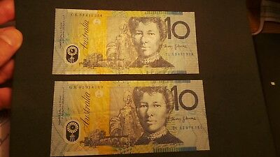 Australia, 2 x Polymer, 10 Dollars Banknotes. Serial #'s begin with;- GK & CL.