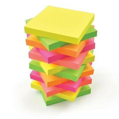 """Vivid NEON Colours Remove It Sticky Post Notes 76mm x 76mm 3""""x3"""" 12 packs of 100"""