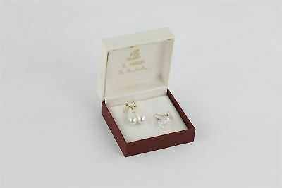 Vintage 2 x 9ct Gold Hook Earrings with Crystal / Faux Pearl Drops BOXED 3.26g
