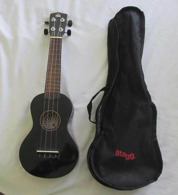 Black Soprano Ukulele And Carry Case Good Condition