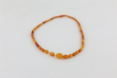 True Vintage AMBER Graduated Necklace With Tulip Shaped Clasp -24g
