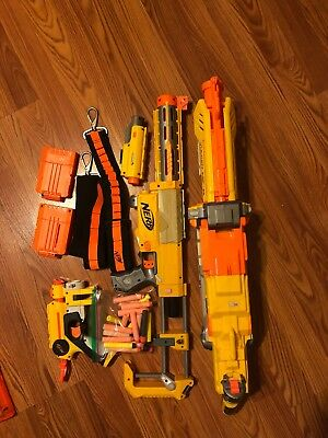 Used Nerf Gun Lot with Bullets and Accessories