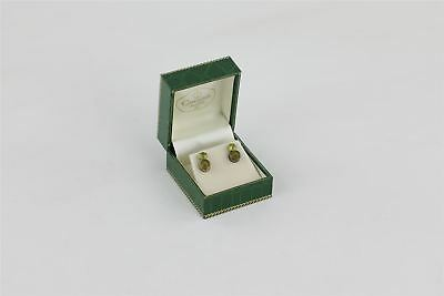 Lot of 2 x Vintage 9ct Gold & Peridot Stud Earrings BOXED 1.34g