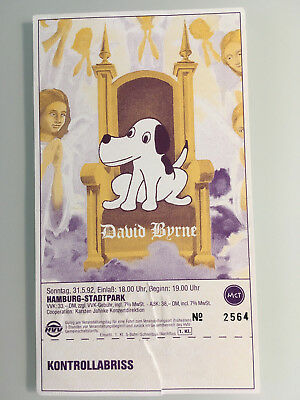 David Byrne Eintrittskarte Hamburg 1992 Konzert Ticket