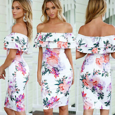 Summer Women Bodycon Dress Off Shoulder Mini Evening Party Beach Sundress HOT