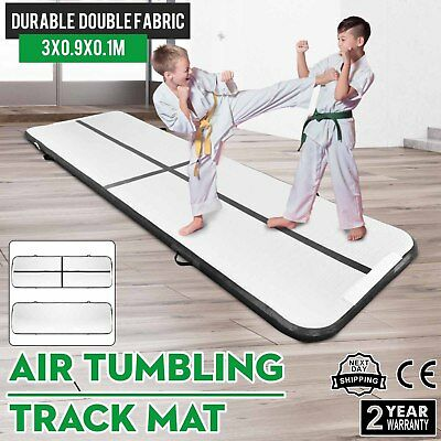 10Ft Air Track Floor Tumbling Inflatable Gym Mat Black Water Sport Portable