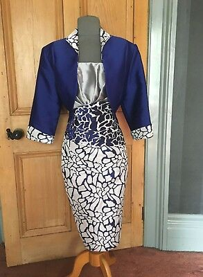 Beautiful Cabotine Mother Of The Bride/evening Dress And Bolero , Size 18
