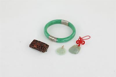 Chinese Vintage Jewellery 4 x inc Jade & STERLING SILVER Bangle / Gold 73g