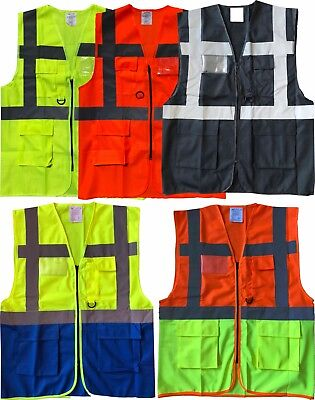 Hi Viz Vis Zip Up Vest Waistcoat with Various Pockets ID Holder Yellow or Orange