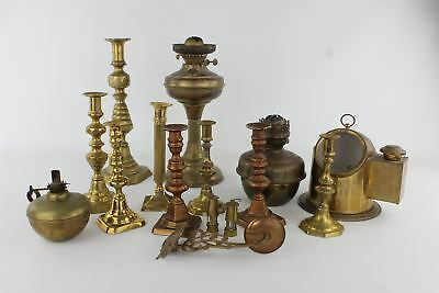 Job Lot of Vintage BRASS Lighting&Candle Sticks Mixed Designs UNTESTED