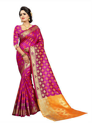 New Indian Kanchipuram Silk Saree With Designer Pallu Party Wear Fancy Sari
