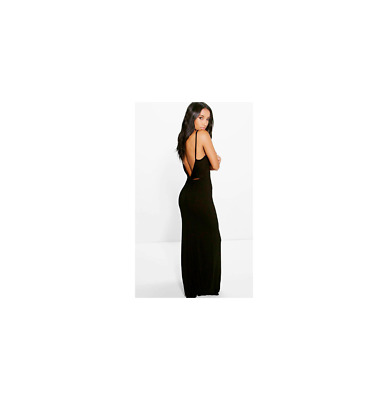 boohoo Selena Knot Cross Back Maxi Dress Navy Size US 4 NWT