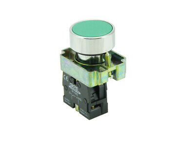 22MM Panel Mount Pushbutton Green & 1 Normally Open Contact Block