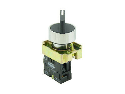 22MM Panel Mount 3 Position Latching Selector Switch & 2 x Normally Open Contact