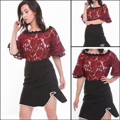 URBAN MIST Black and Red Satin and Lace Off Shoulder Ruffle Summer  Sleeve Top