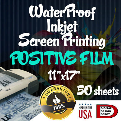 "WATERPROOF Inkjet Transparency Film for Screen Printing 11""x17"" 50 sheets"