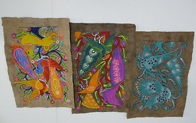 set of 3 AMATE BARK PAINTINGS native ethnic mexican wall  folk art hand painted