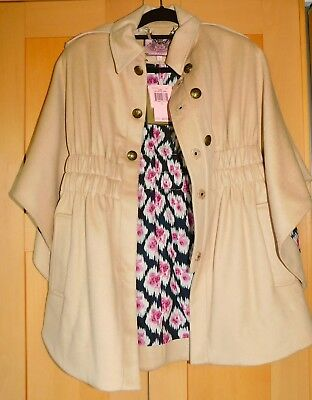 NWT JUICY COUTURE $378 Designer Camel Melton Wool Cape Coat Military Style Sz: S