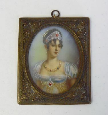 Antique French Hand Painted Miniature Framed Watercolor Woman's Portrait Signed