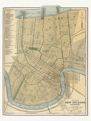 Old Antique Decorative Map of New Orleans Louisiana Appleton ca. 1892