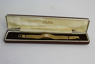 Vintage Avia Gold Plated Bracelet Watch Complete With Original Box 6 Inches
