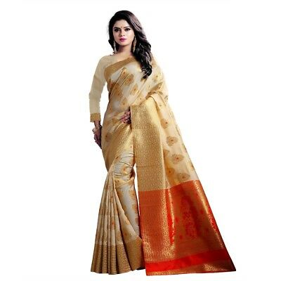 New Indian Designer Fancy Banarasi Silk Sari Ethnic Party Wear Top New Saree