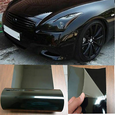 "Glossy Headlight Taillight Fog Tint Film 12"" x 96"" Car Wrap Sticker Dark Black"