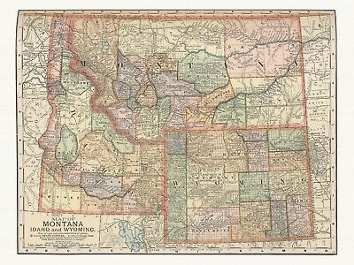 Old Antique Decorative Map of Montana Idaho and Wyoming Appleton ca. 1892