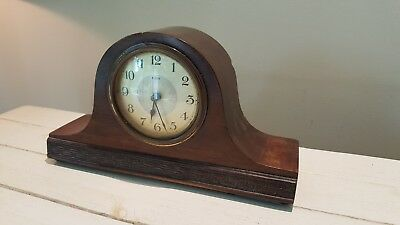 8 Day Decorative Mahogany Case Mantel/ Bedroom Clock - Lovely size and colour