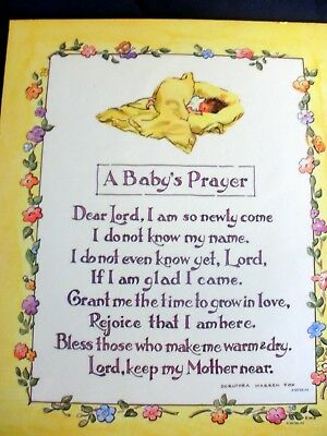 """A Baby's Prayer Wall Hanging Picture Nursery 9"""" X 11"""""""