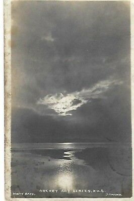 "VINTAGE POSTCARD: ""MISTY RAYS"" - ORKNEY ART SERIES #4. POSTED  10th Oct 1906"