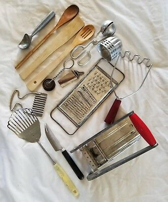 Large Lot Vintage Metal Wood Handled Kitchen Tools Misc Bunch Wow!