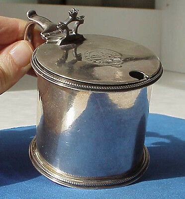RARE ANTIQUE c1871 JOHN SMITH WEST & SON DUBLIN IRISH SOLID SILVER MUSTARD POT