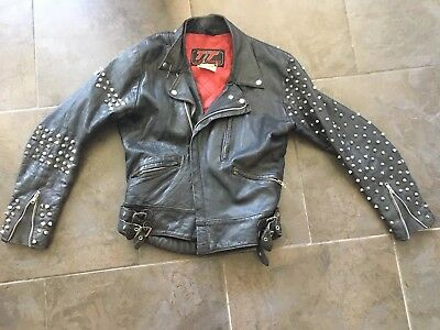 80s Vintage Studded Leather Jacket. Alice Cooper/ Poison/ Heavy metal/ Glam