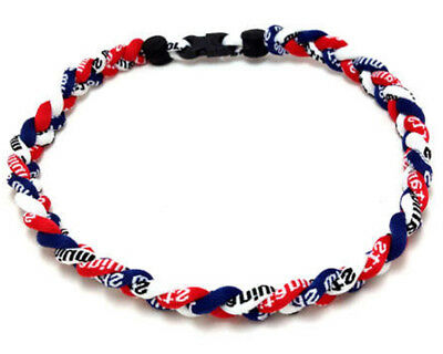 Red Navy White Titanium Ionic Baseball Necklace Boys Tornado Rope Necklace