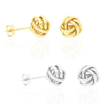 85d359e96 14K YELLOW GOLD White Gold 8mm Love Knot Push Back Stud Earrings ...