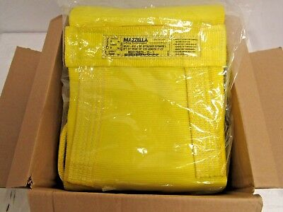Mazzella WLA1-812 Nylon Attached Eye Web Sling, Wide-Lift, Yellow, 20FT.X12IN.