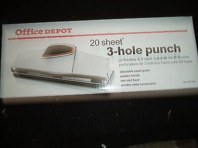 3 Hole Punch 20 Sheet Max HEAVY NIB FREE SHIPPING DUTY Office Depot Item 275-882