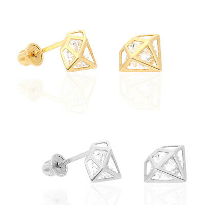 14k Yellow Gold White Gold 1Ct Created Diamond Screw back Stud Earrings
