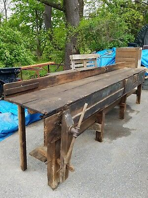 Blacksmith Carpenter Work Bench Table 1880s Old Wood  Vintage Island Anvil Tool