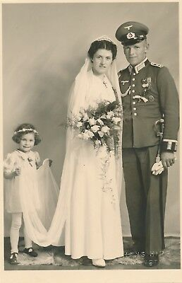 Vintage 1930's German Nazi Officer Wedding Photo Real Postcard